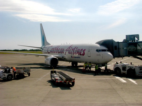 Caribbean Airlines plane at Montego Bay Airport